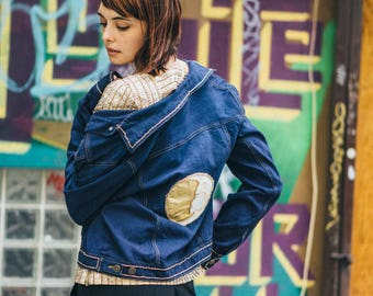 """Hand painted and embroidered """"Golden Moon"""" upcycled jacket"""