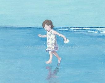 Beach canvas print of girl running on the beach, seashore, ocean, shore, blue, seaside, shore, toddler, little girl, children