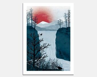 Falling Water Art Print / wallart / waterfall / bird / tree / landscape / red sun / winter / mountains / red / blue / north / Ruth Thorp /