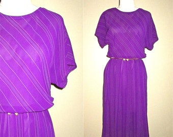Vintage 80's day dress GRAPE CANDY striped short sleeve - M/L