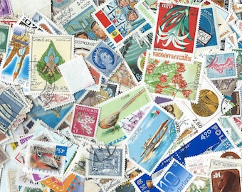 100 Postage Stamps - Scrapbooking, collage, altered art