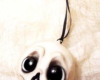 Halloween Skull Ornament - Halloween Decorations - Halloween - Creepy Cute - Big Eyes - Skeleton Ornament