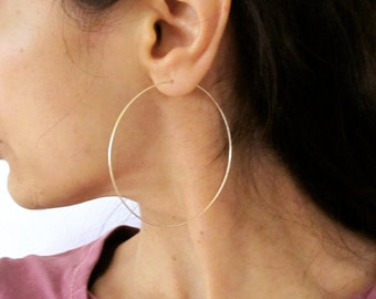 """2.5"""" sterling silver, yellow or rose gold filled big hoop earrings, modern hoops earrings"""