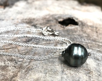 Tahitian Pearl Pendant Necklace - Solid Sterling Silver - Single Genuine Baroque Tahitian Pearl - Large Grey/Blue/Brown Saltwater Pearl