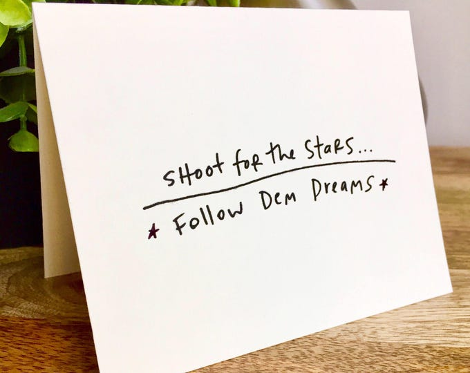 Shoot for the Stars card, Hand designed pattern note card, women empowerment cards, follow your dreams card, encouragement card