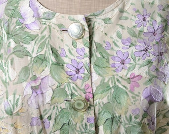 Vintage spring floral print summer dress
