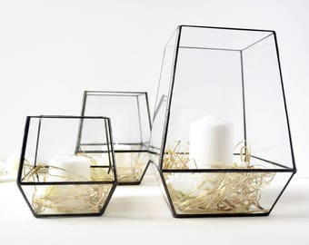 Large Glass Hurricane Candle Holders, Wedding Collection of Large Glass Candle Holders, Set of 3  Modern Glass Candle Holders