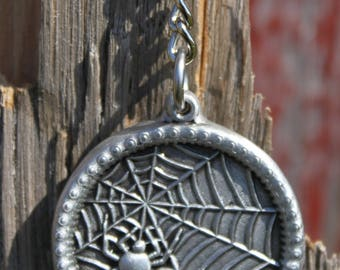 Hand Made Lead Free Pewter Spider & Web Keychain  pendant  Made in Michigan  spider web  unique gift  Free Shipping