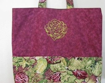 Lettuce Tote, Eco Friendly, Purse, Bag Embroidered on BOTH sides