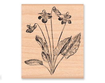 COUNTRY VIOLET-wood mounted rubber stamp (41-26)
