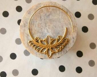 Tribal Brass Earrings. Hanging Earrings, Brass Tribal Earrings, Boho Earrings. Gypsy Hoop Earrings. Ethnic Earrings. festival fashion.