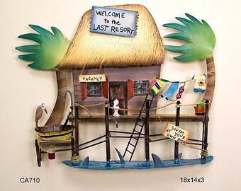 Tiki Hut Tropical Resort Metal Wall Sculpture - CA710