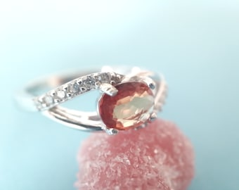 Sterling Silver Natural Orangish Red 0.60 Ct Sapphire Ring