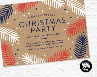 Christmas Party Invite - PRINTABLE DIGITAL FILE