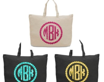 Glitter Monogram Personalized Zippered Canvas Totes
