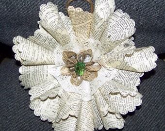 Vintage Book Page Wreath 8 Inch Frilly With Customization