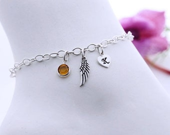 Sterling silver Wing Bracelet. Personalized Bracelet, Custom Charms,  silver Wing Bracelet, Long lasting Strong chain. Wing Jewelry
