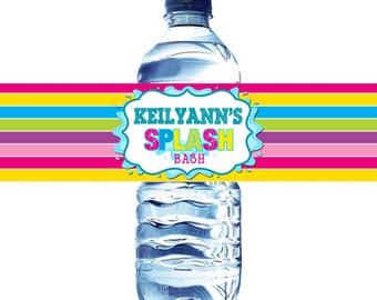 Splash Party Water bottle label, Summer Water Bottle Label, Water Splash water label, Splish Splash Water Bottle Label, Pool Party Water Lab