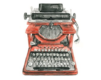 typewriter watercolor giclee print // Vintage Typewriter Illustration // office art // wall decor
