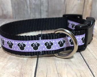 "The Minnie II {Light Purple} | Designer 1/2"" or 3/4"" Width Dog Collar | CupcakePups Collars | Small/Medium Dog Collar"
