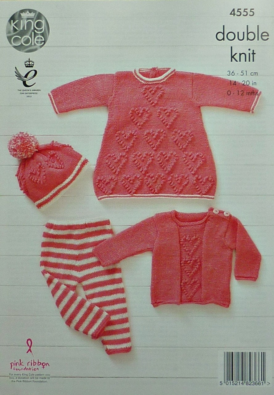 Baby Knitting Pattern K4555 Babies Heart Motif Dress, Leggings ...