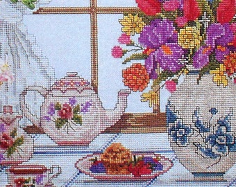 Beautiful Victorian COUNTRY MORNING WINDOW Picture - Counted Cross Stitch Pattern Chart - fam