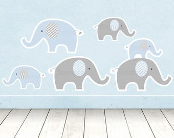 Cute Elephant Cut Outs / Elephant Baby Shower / Blue Elephant / Chevron Pattern / Baby Shower Decorations / Printable INSTANT DOWNLOAD A228