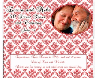 Ruby Damask Anniversary Candy Bar Wrappers - Party Favor