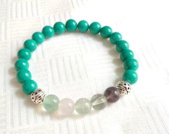 Turquoise Fluorite Bracelet, Gemstone Bracelet, Stone Bracelet, Elastic Beaded Bracelet