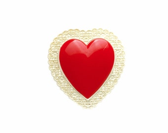 Celluloid Heart Brooch 1940s / b1