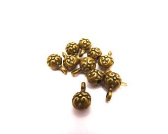 Pearl Ball pendant, antique bronze metal, set of 10 Pcs
