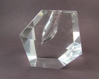 Vintage Timo Sarpaneva Art Glass Orchid Vase Paperweight Danish Modern Art Glass