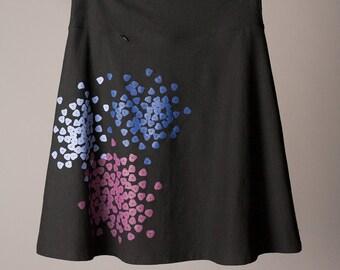 knee length skirt, black skirt, stretchy black cotton skirt