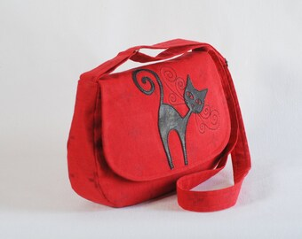 Linen purse, red linen bag with cat