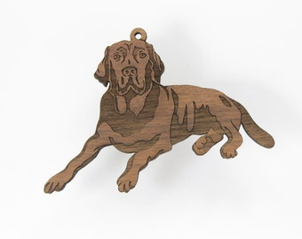 Black Lab Retriever Ornament from Timber Green Woods. Personalize it with Name Engraving. - Made in the U.S.A! - Walnut Wood