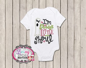 Im Daddys Little Ghoul Halloween Pumpkin Ghost body suit onesie tutu dress outfit with Newborn 0-3 m, 6, 6 12, 12 months