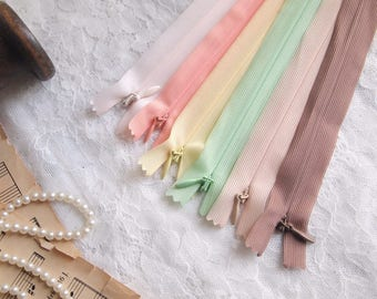 5 pieces Invisible Zippers// 49cm (19)// assorted colors