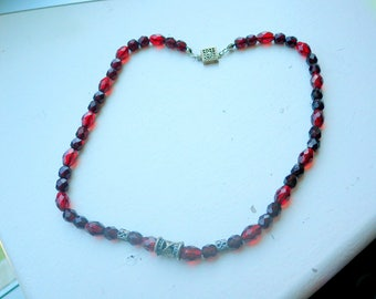 Faceted Ruby Crystal Necklace - Sterling Clasp and Spacers.