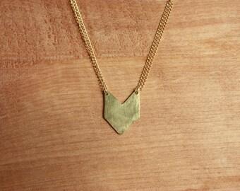 Tiny Chevron Necklace, brass gold fill