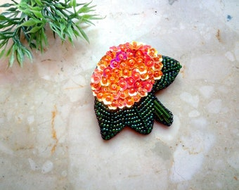 Hydrangea embroidered pin, beaded flower brooch, sparkle brooch