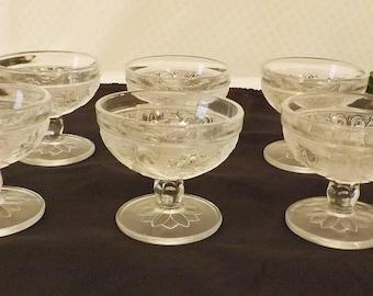 Vintage Mid Century Cut Glass Dessert Cups Set of 6