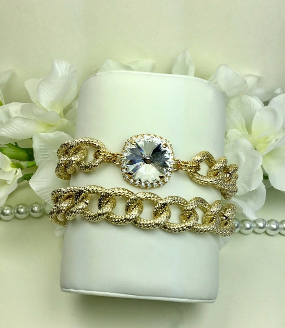 Swarovski Crystal 18MM With Halo and Chunky Gold Tone Bling Bracelet Set - Designer Inspired - Absolutely Stunning & Classy - FREE SHIPPING