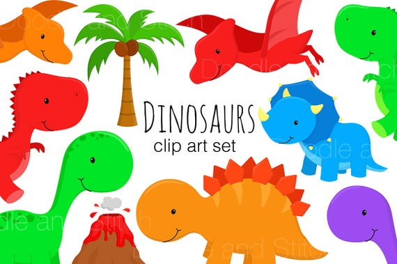 dinosaur clipart set cute dinosaur illustrations t rex clip rh etsy com cute dinosaur clipart free Cute Dinosaur Borders
