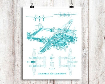"P38 Lightning blueprint, Blueprint Art, Instant Download, Airplane, Teal Decor, P38 Lightning, Blueprints, Aviation Art, 8x10"", 11x14"""
