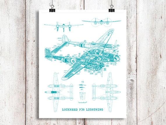 P38 Lightning Blueprint Blaupause Kunst Instant Download