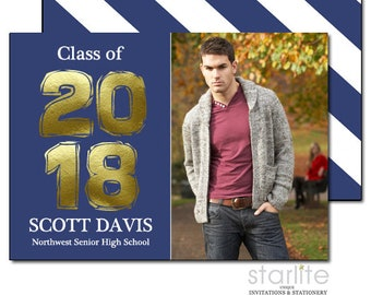 Blue and Gold Graduation Announcement Cards, Graduation Invitation in Blue and Gold, Photo Annoucement Card, Printable or Printed 2 sides