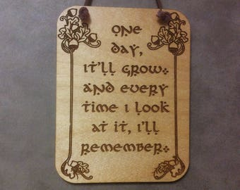 Lord of the Rings, LOTR, Hobbit, Tolkien, Bilbo Acorn, Small Plaque,Laser Engraved Wood, Laser Cut Mini Wall Hanging