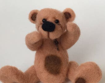 Felted Mini Artist Bear by Chicago Bear Co: Biscuit OOAK
