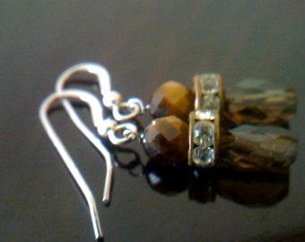 Tiger Eye Earrings/ Sterling and Smokey Brown Gemstone Drop Earrings/ Bridal, Wedding Jewelry Gift for Her