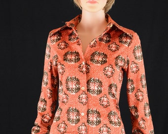 Womens Shirt Blouse 70s Clothing Hippie Hipster Shirt Paisley Polyester New York / Made in USA Size 12